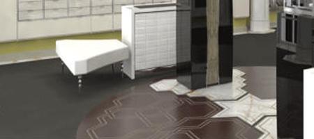 Leder-Intarsienarbeit, kombiniert mit Marmor