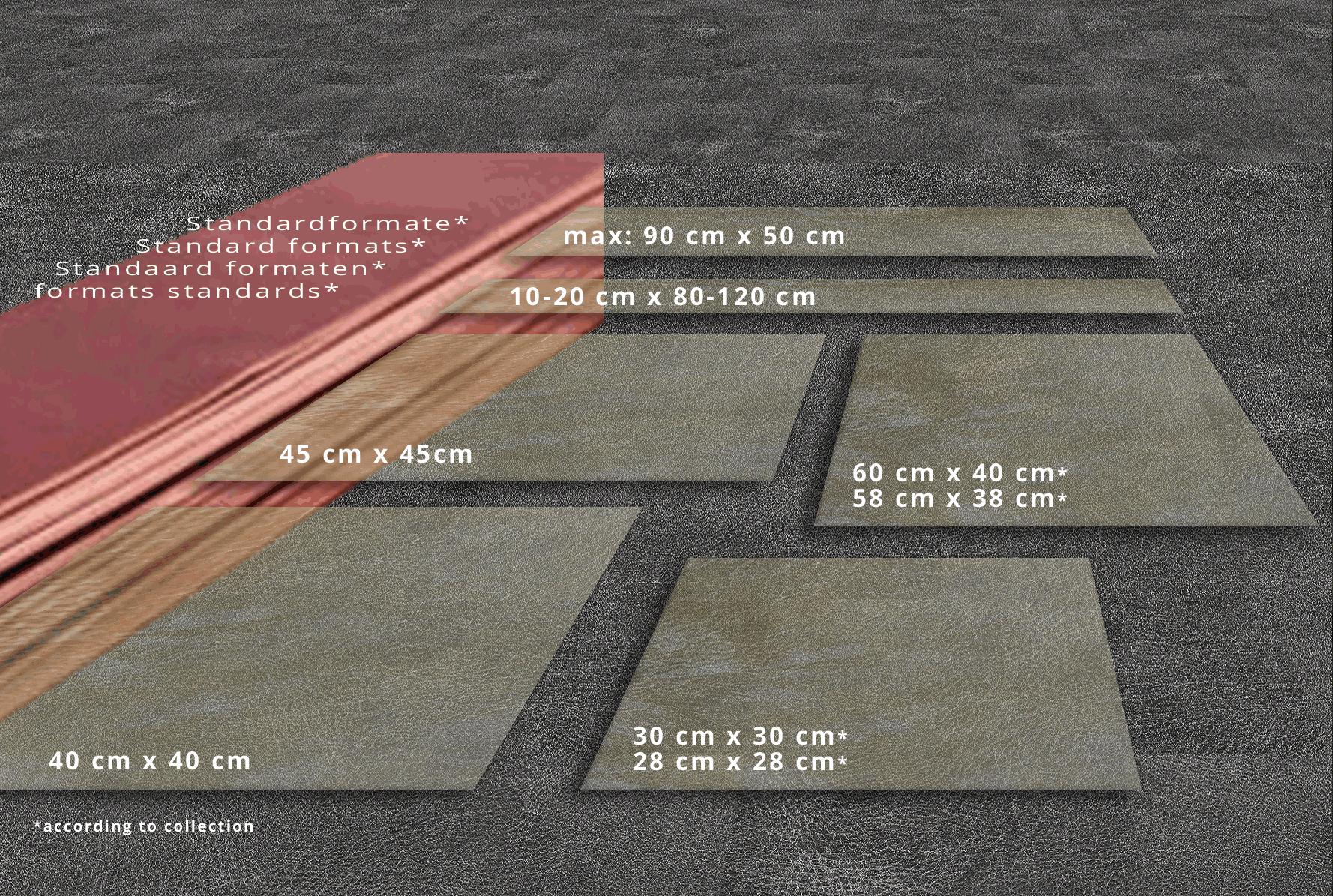 Formate für Lederboden und Lederbodenfliesen