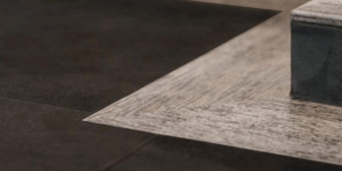 Ecke Lederboden mit Velourleder und Holz